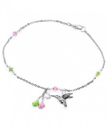Body Candy Handcrafted Cable Chain Hummingbird Anklet Created with Swarovski Crystals 9 1/2 Inch - C1125Y4CZBZ