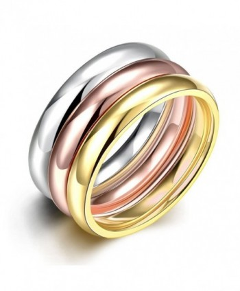 JAJAFOOK Women's 3mm Plain Band Stackable Ring Tri-Colors Stainless Steel Stack Band Rings Set - CV188R7M3WT