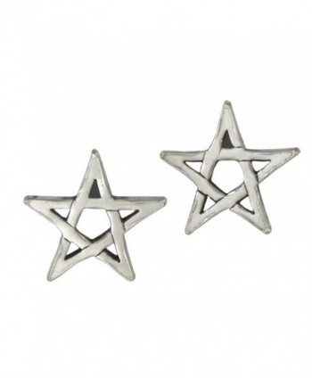 Sterling Silver Pentagram Star Post Earrings - CK1190OLWND