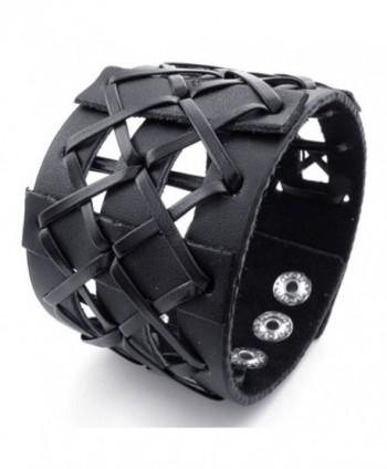 TEMEGO Jewelry Mens Womens Leather Braided Bracelet- Wide Cuff Bangle- Fit 6.5-8 inch - black - CX11AGLS6BJ