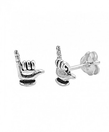 Cute Small Tiny Pair of Hawaiian Shaka Stud Post Earrings 925 Sterling Silver - C012N19SBVB