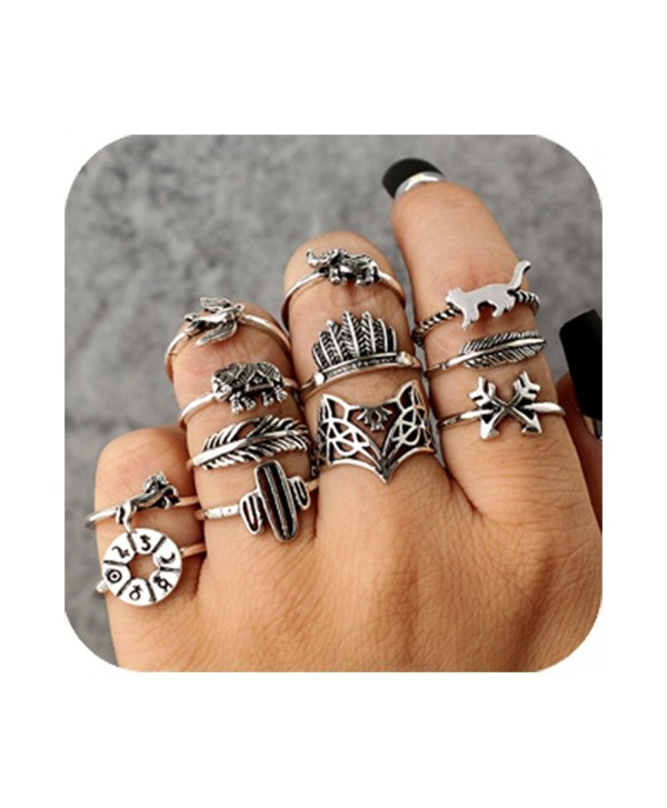 Cyntan Fashion Rings Set Boho Knuckle Stackable Rings Set For Women Girls - Style 2 - C4189WTH5CU