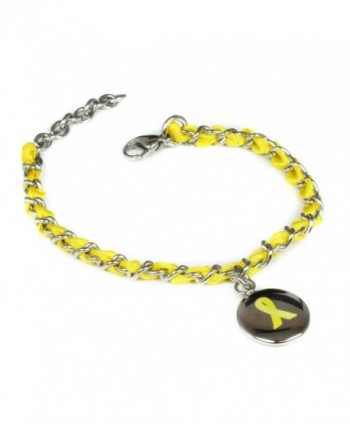 MyIDDr Custom Engraved Yellow Awareness Bracelet - Silk Woven 316L Steel - CG125LNZDYP