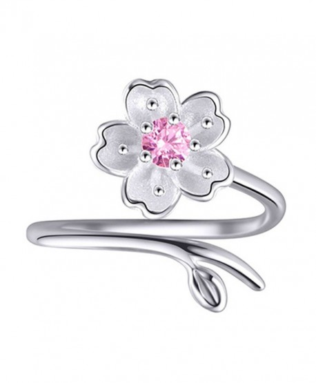 S925 Sterling Silver CZ Cherry blossom Flower Purple Amethyst Women Open Band Ring-adjustable - CG183K46SHH