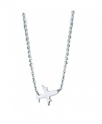 Helen de Lete Original Frosted Little Airplane 925 Sterling Silver Collar Necklace - C612NSFEJBW