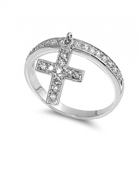 Sterling Silver Women's Clear CZ Dangle Cross Ring Cute Band 12mm Sizes 4-9 - CP11GP36VW9