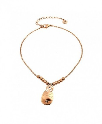 Geminis Fashion Jewelry Lucky Cat Rose Gold Plated Stainless Steel Women's Anklets(With Gift Box) - C711NHGMD79