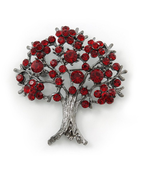 Burgundy Red Crystal 'Tree Of Life' Brooch In Gun Metal Finish - 52mm Length - CZ11FBZAGSB