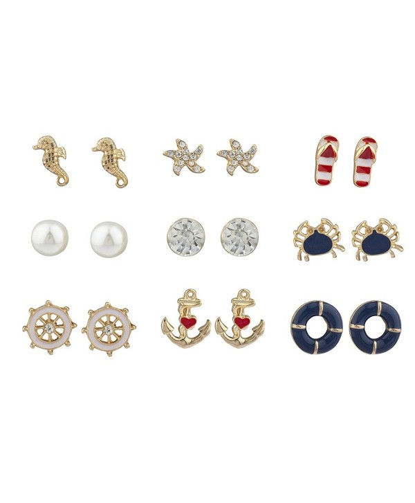 Lux Accessories Gold Tone Crystal Pearl Red White Blue Nautical Earring Set - C017YHLYN9R
