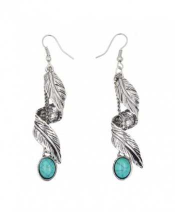 Sujarfla Retro Imitation turquoise feather tassel dangle earrings - CM1838STMM5