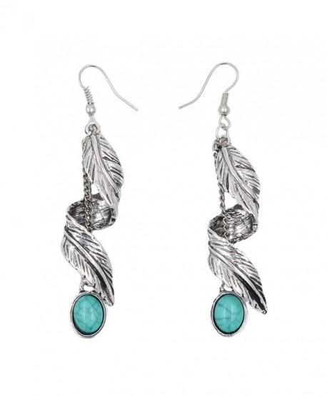 Sujarfla Retro Imitation turquoise feather tassel dangle earrings - CM1838STMM5