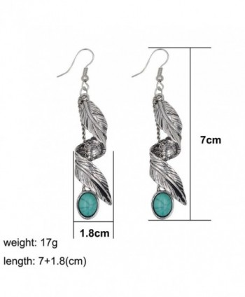 Sujarfla Imitation turquoise feather earrings in Women's Drop & Dangle Earrings