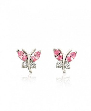 10K White Gold Butterfly Earring with Pink Marquis CZ - CV12BUTOP57
