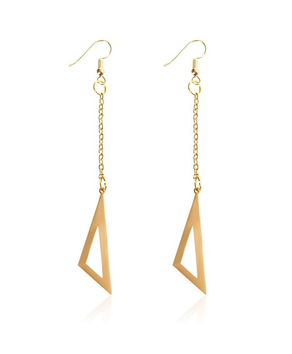 Women's Imitation Long Line Drop Dangle Earrings with Gold Leave - Rose Gold-04 - C1187GUTXAN