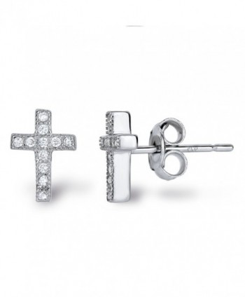 Sterling Silver Cubic Zirconia Classic Mini Cross Crucifix Stud Earrings - CZ11UZ1P6J1