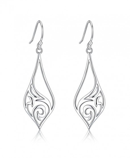 Highly Polished Sterling Silver Filigree Dangle Drop Earrings - New Arrival - CN17YCD24N7