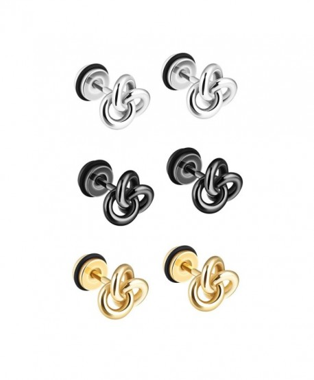TEMICO 1-3 Pairs Silver Black Gold Tone Stainless Steel Twist Love Knot Post Stud Earrings For Men Women - CK187A8M7MZ
