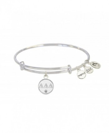 Tri- Delta Sorority Inspired Love Adjustable Bangle Bracelets - Silver - Delta Delta Delta - CQ12OBFIS8O