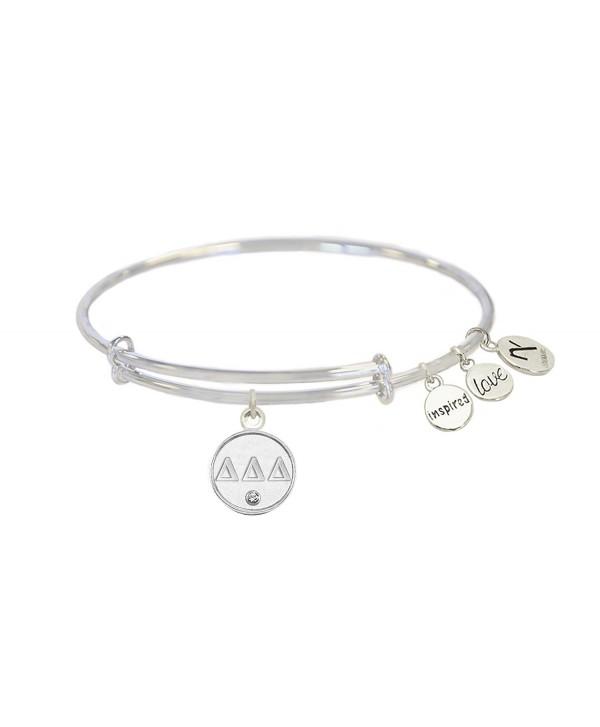 Tri- Delta Sorority Inspired Love Adjustable Bangle Bracelets - Silver - Delta Delta Delta - CQ12OBFIS8O