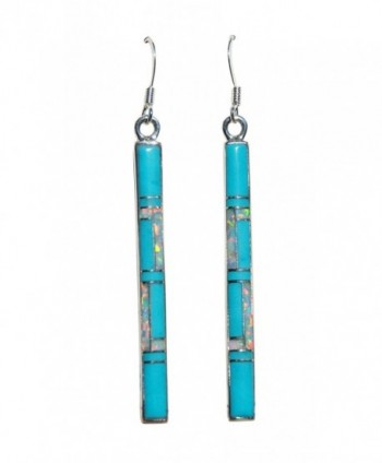 1-5/8 inch Handmade St. Silver Inlaid Stabilized Turquoise Created Opal Stone Staff Earrings - CI129E61C1N
