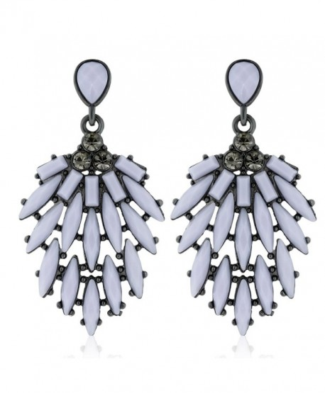 Sparkle Bargains Chandelier Cascading Resin and Crystal Women's Fashion Earrings - Gray - CX127YDMMUN