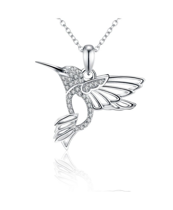 Zirconia Sterling Hummingbird Necklace Girlfriend - Hummingbird - C2183445NHK