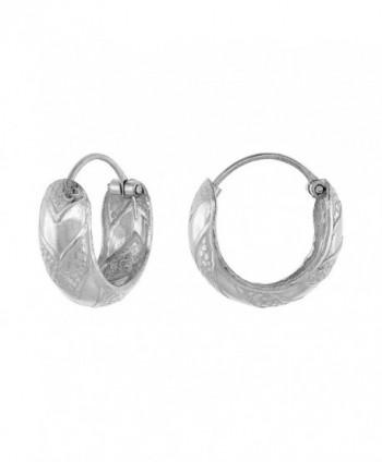 Sterling Silver Dainty Hinged Hoop Earrings Chevron Pattern- 9/16 inch - C211TA9YOIH