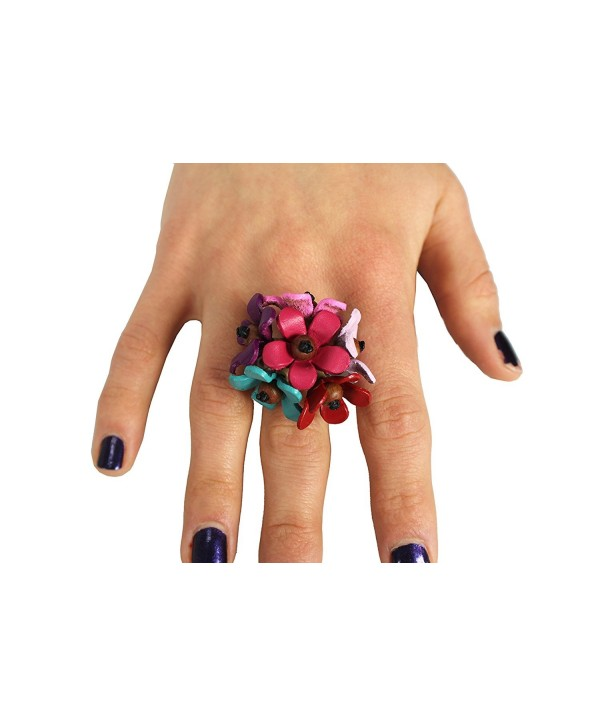 Gems Couture Leather & Coconut Wood Flower Bloom Ring - C811EEYGFW7