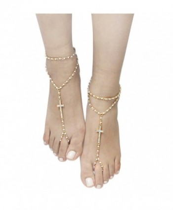 Cross Chain Bead Link Barefoot Sandals Anklet (Sold As Pair) - CR12GTU2Z6D