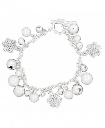 Periwinkle Snowflake- Simulated Pearl- and Bell Charms Toggle Bracelet - CG126UK9ROP