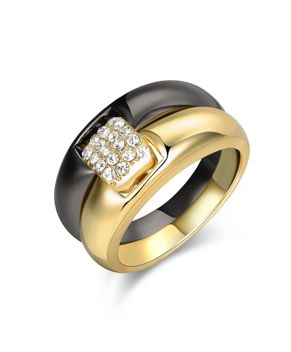 Mytys 2-Tone Stackable Ring 2-Ring Set Gold and Black Gun Plated - C4188HLO46W