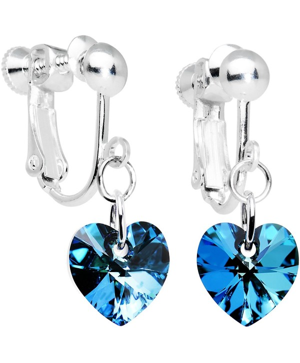 Body Candy Handcrafted Heart Clip Earrings Created with Swarovski Crystals - C91141ZXQML