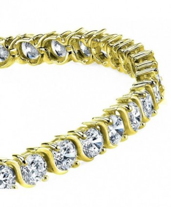 "5mm 14K Gold Plated Sterling Silver ""S"" Shape Cubic Zirconia Tennis Bracelet - CF12O3LKRST"