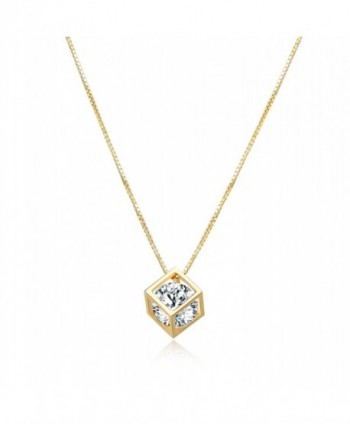 Diamond Pendant Necklace Crystal Zirconia - Cube with Diamond (Gold) - CZ189UISI6Z