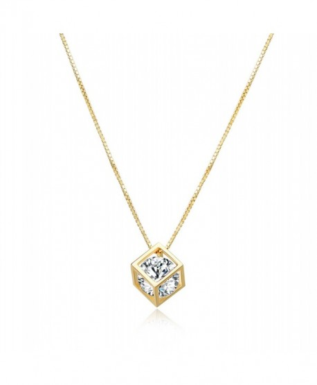 Diamond Pendant Necklace Crystal Zirconia - Cube with Diamond (Gold) - CZ189UISI6Z