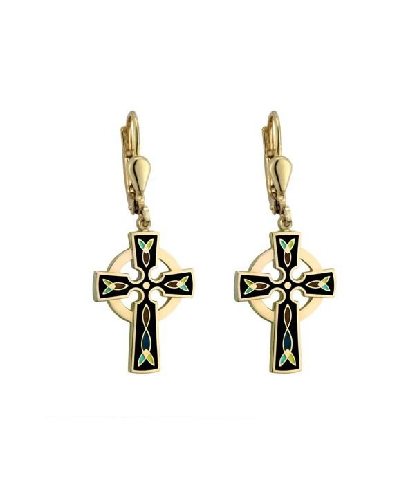 Celtic Cross Earrings Gold Plated & Black Irish Made - CX118NB0Q9F