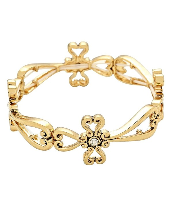 Rosemarie Collections Women's Religious Cross Stretch Bracelet - Gold - C812B0AJ4O7