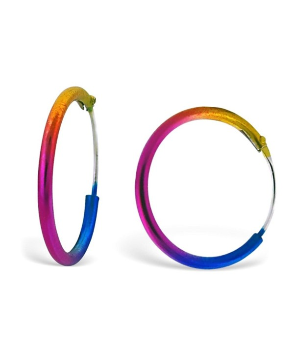 Cute Rainbow Coloured 1.5 cm Small Hoop Earrings - FREE Gift Pouch - CA11XTRKJKT