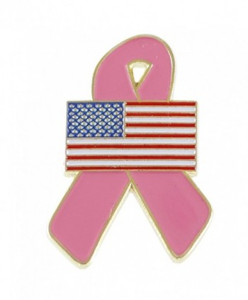 American Flag Pink Breast Cancer Awareness Ribbon Lapel Pin - C512I4R91HF