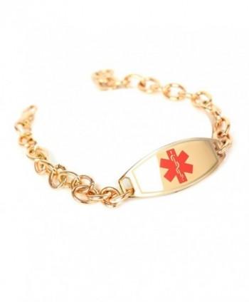 MyIDDr Medical ID Bracelets for Women Free Engraving- O-Link 316L Steel- Rose Tone 6mm - C9125G5T5U1