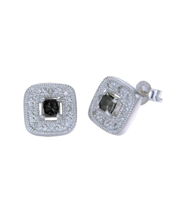Sterling Silver Black Diamond Stud Earrings (3/4 cttw) - CP110W1RYTT