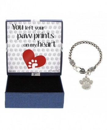 You Left Pawprints on My Heart Silver-Tone Crystal Adorned Paw Print Charm Bracelet Jewelry Box - CC12NSFA4KK
