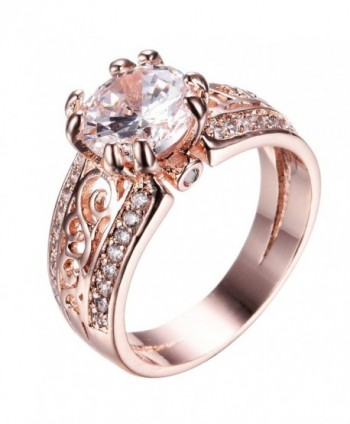Junxin 10 KT Rose Gold Ring- Two Rows of Small Diamonds- The Middle of a Big Stone - C418534G6YS
