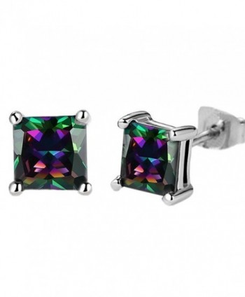 White Gold Plated Stud Earrings- Beautiful 3A Colorful Zircon Stud Earrings For Women And Girls - Purple - CW180LSCRM3