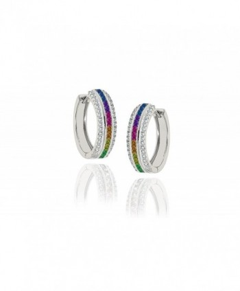 NYC Sterling Women Cubic Zirconia 22MM Princess Cut Rainbow Hoop Earrings - CS182HQ5WEY