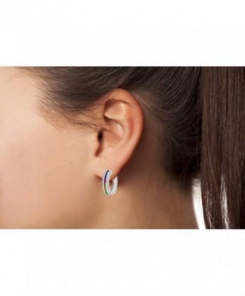 NYC Sterling Zirconia Princess rhodium plated silver in Women's Hoop Earrings