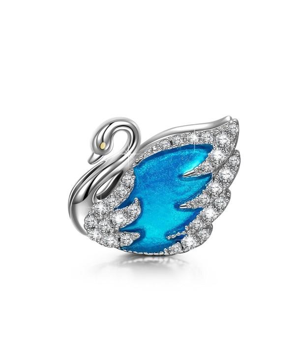 "NinaQueen ""Swan Princess"" 925 Sterling Silver Lake Blue Enamel Hand-made Charms - CN12IDYGUPP"