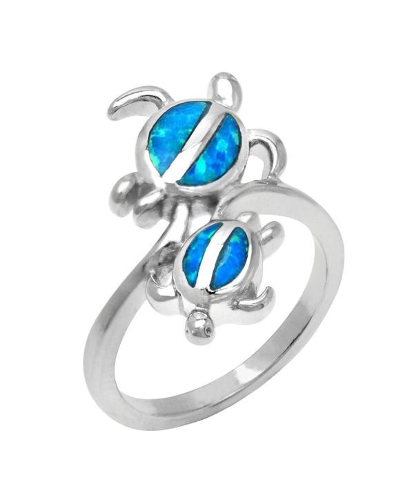 Twin Hawaiian Turtle Honu Silver Ring with Simulated Blue Opal - C5117KF3Y2V