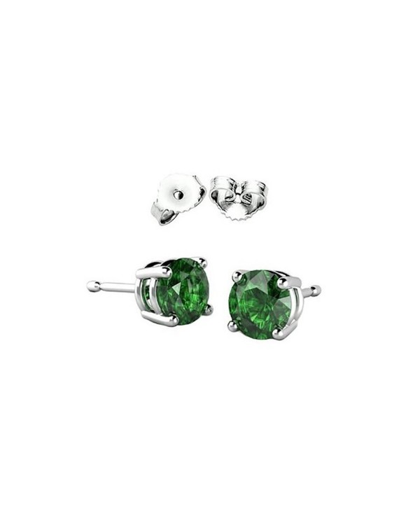 Solitaire Stud Post Earring Round Simulated Green 925 Sterling Silver - CK12N2K3M5S