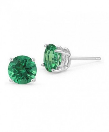 Solitaire Earring Simulated Sterling Silver